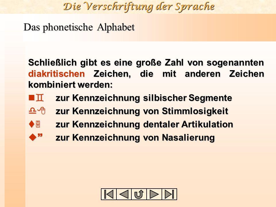 Die Verschriftung der Sprache Das phonetische Alphabet Schließlich gibt es eine große Zahl von sogenannten diakritischen Zeichen, die mit anderen Zeic