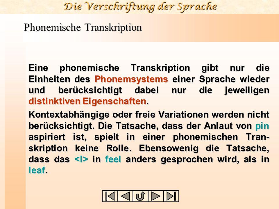 Die Verschriftung der Sprache Phonemische Transkription Eine phonemische Transkription gibt nur die Einheiten des Phonemsystems einer Sprache wieder u
