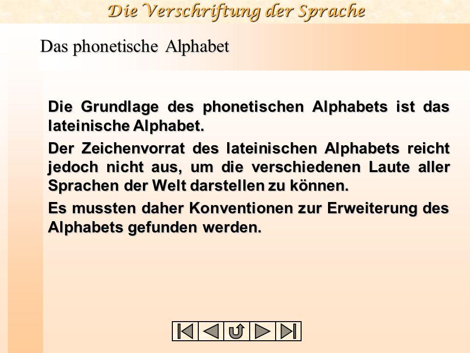 Die Verschriftung der Sprache Das phonetische Alphabet Die Grundlage des phonetischen Alphabets ist das lateinische Alphabet. Der Zeichenvorrat des la