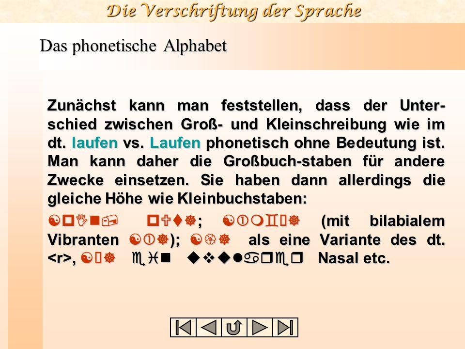 Die Verschriftung der Sprache Das phonetische Alphabet Zunächst kann man feststellen, dass der Unter- schied zwischen Groß- und Kleinschreibung wie im