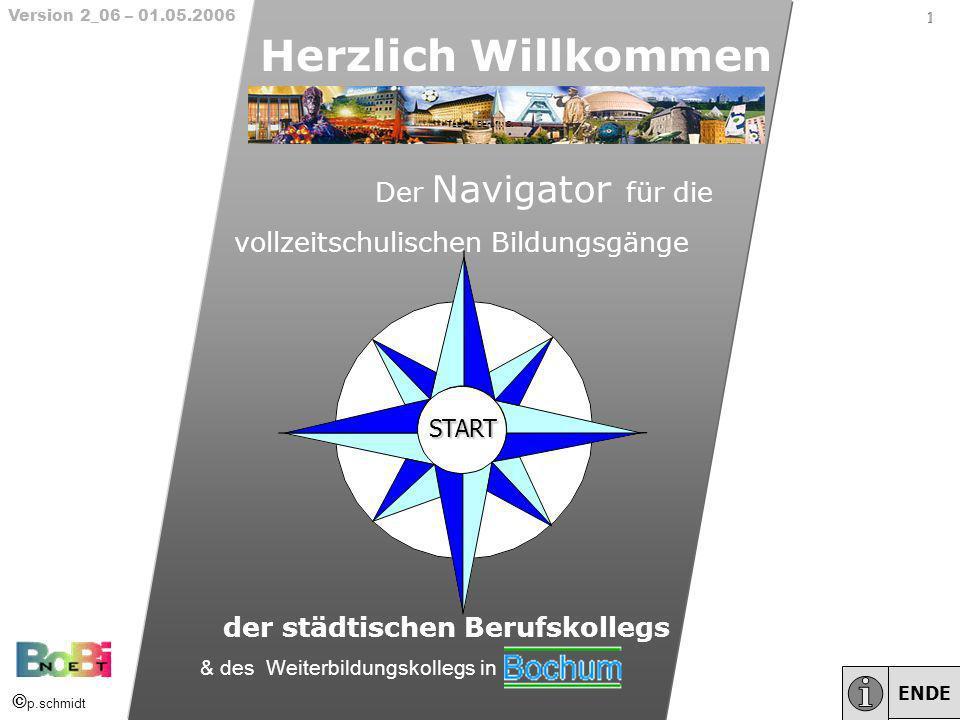 1 Herzlich Willkommen Der Navigator für die vollzeitschulischen Bildungsgänge der städtischen Berufskollegs START ENDE 1 1 Version 2_06 – 01.05.2006 &
