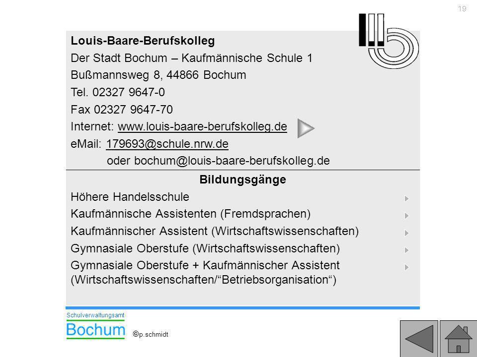 19 Louis-Baare-Berufskolleg Der Stadt Bochum – Kaufmännische Schule 1 Bußmannsweg 8, 44866 Bochum Tel. 02327 9647-0 Fax 02327 9647-70 Internet: www.lo