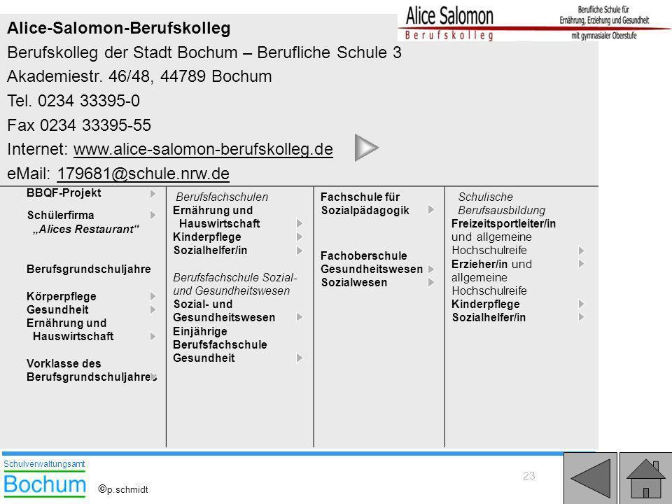 23 Alice-Salomon-Berufskolleg Berufskolleg der Stadt Bochum – Berufliche Schule 3 Akademiestr. 46/48, 44789 Bochum Tel. 0234 33395-0 Fax 0234 33395-55