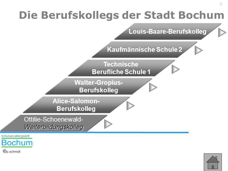 3 Die Berufskollegs der Stadt Bochum Technische Berufliche Schule 1 Walter-Gropius- Berufskolleg Alice-Salomon- Berufskolleg Louis-Baare-Berufskolleg