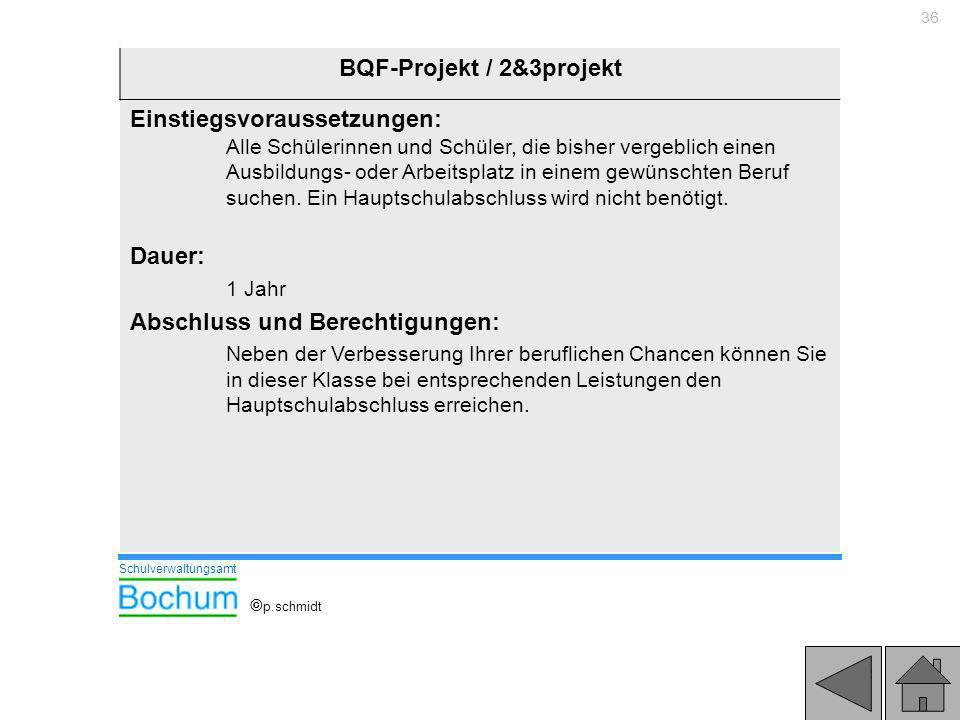 36 BQF-Projekt / 2&3projekt Einstiegsvoraussetzungen: Alle Schülerinnen und Schüler, die bisher vergeblich einen Ausbildungs- oder Arbeitsplatz in ein