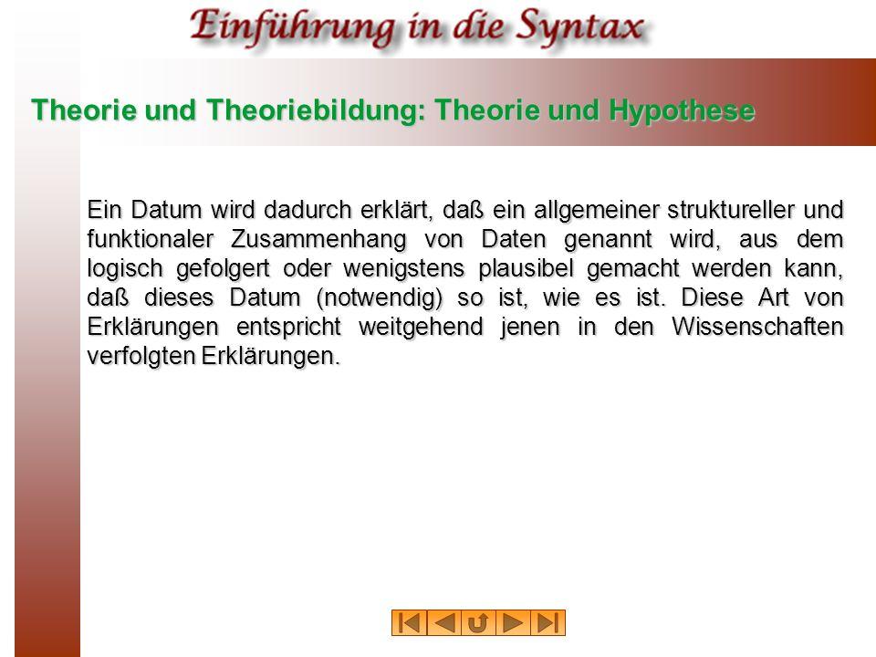 Theorie und Theoriebildung: Theorie und Hypothese Ein Datum wird dadurch erklärt, daß ein allgemeiner struktureller und funktionaler Zusammenhang von