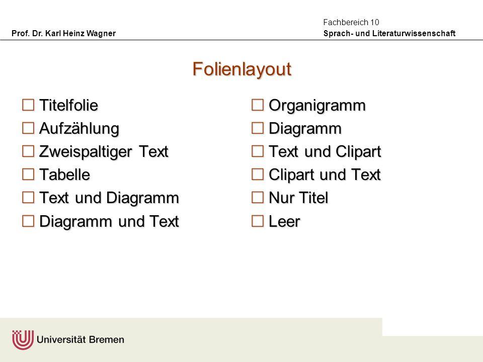 Prof. Dr. Karl Heinz Wagner Sprach- und Literaturwissenschaft Fachbereich 10 Folienlayout Titelfolie Titelfolie Aufzählung Aufzählung Zweispaltiger Te