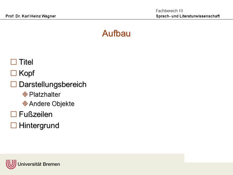 Prof. Dr. Karl Heinz Wagner Sprach- und Literaturwissenschaft Fachbereich 10 Aufbau Titel Titel Kopf Kopf Darstellungsbereich Darstellungsbereich Plat