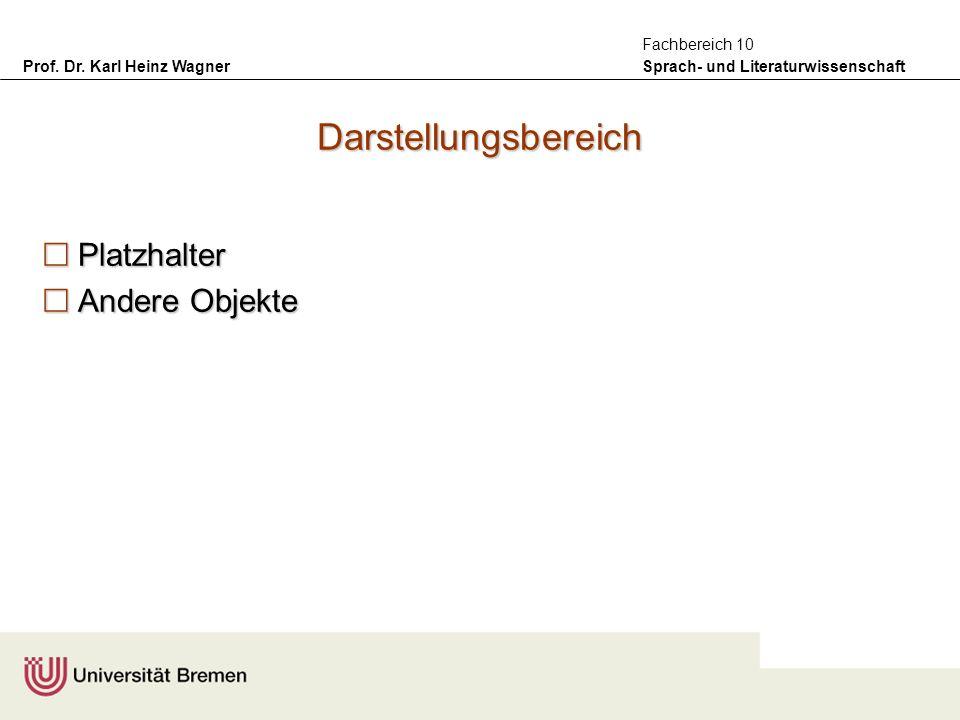 Prof. Dr. Karl Heinz Wagner Sprach- und Literaturwissenschaft Fachbereich 10 Darstellungsbereich Platzhalter Platzhalter Andere Objekte Andere Objekte