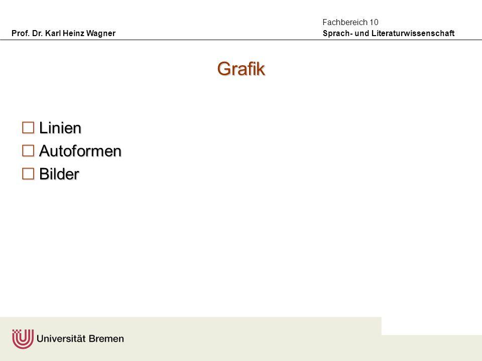 Prof. Dr. Karl Heinz Wagner Sprach- und Literaturwissenschaft Fachbereich 10 Grafik Linien Linien Autoformen Autoformen Bilder Bilder