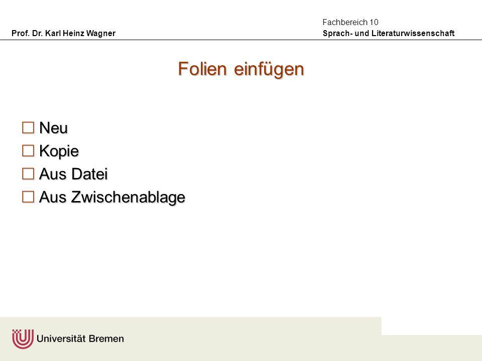 Prof. Dr. Karl Heinz Wagner Sprach- und Literaturwissenschaft Fachbereich 10 Folien einfügen Neu Neu Kopie Kopie Aus Datei Aus Datei Aus Zwischenablag