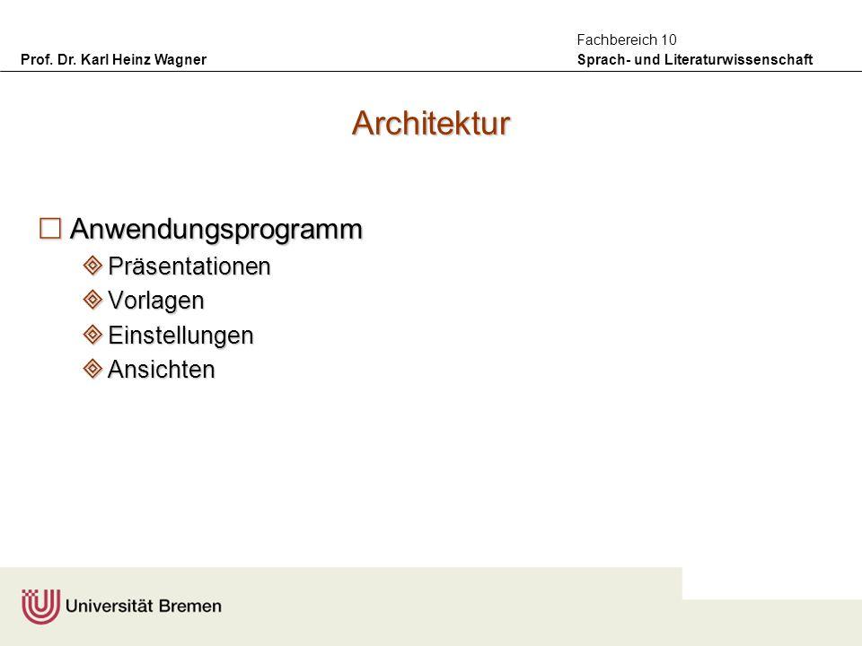 Prof. Dr. Karl Heinz Wagner Sprach- und Literaturwissenschaft Fachbereich 10 Architektur Anwendungsprogramm Anwendungsprogramm Präsentationen Präsenta