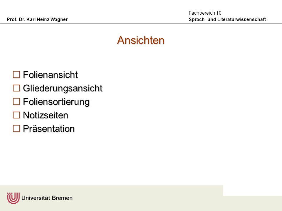 Prof. Dr. Karl Heinz Wagner Sprach- und Literaturwissenschaft Fachbereich 10 Ansichten Folienansicht Folienansicht Gliederungsansicht Gliederungsansic