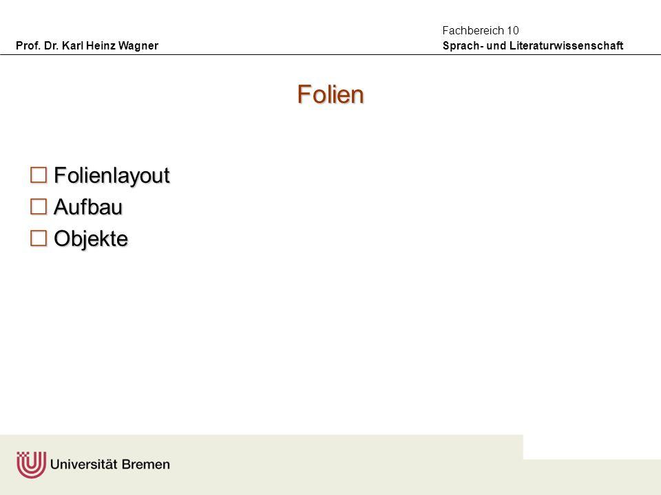 Prof. Dr. Karl Heinz Wagner Sprach- und Literaturwissenschaft Fachbereich 10 Folien Folienlayout Folienlayout Aufbau Aufbau Objekte Objekte