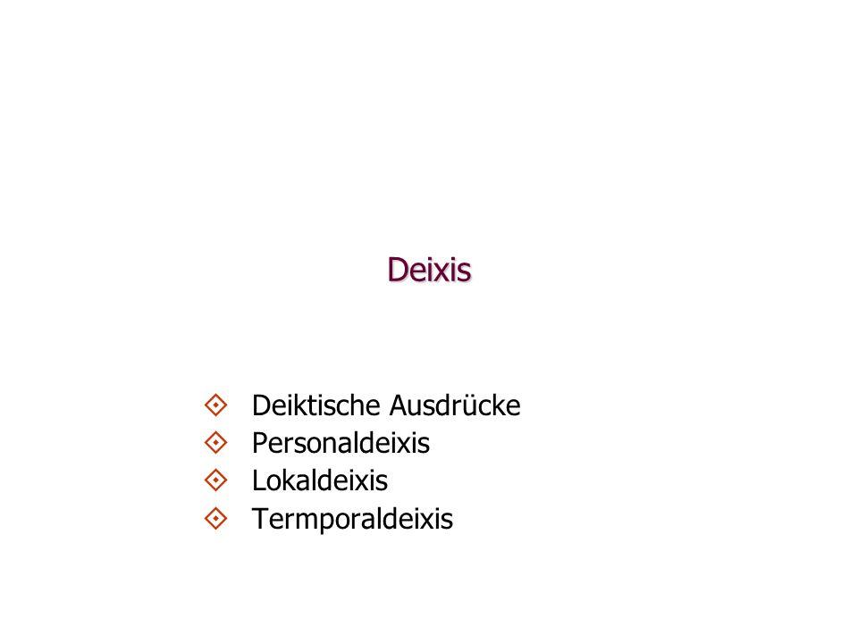 Deixis Deiktische Ausdrücke Personaldeixis Lokaldeixis Termporaldeixis