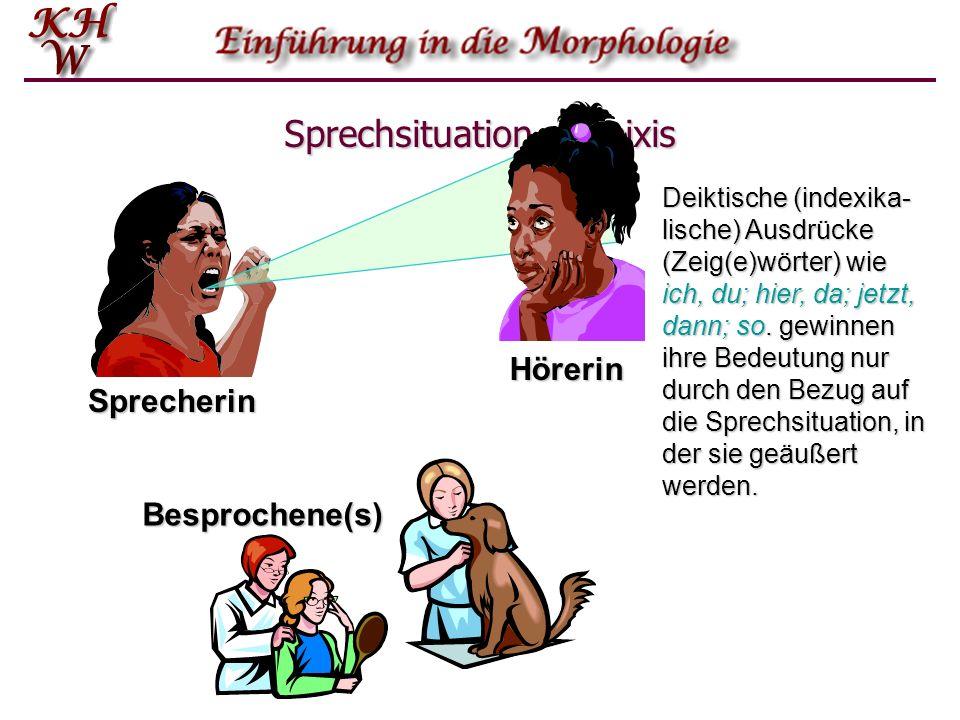 Sprechsituation – Deixis Sprecherin Hörerin Besprochene(s) Deiktische (indexika- lische) Ausdrücke (Zeig(e)wörter) wie ich, du; hier, da; jetzt, dann;