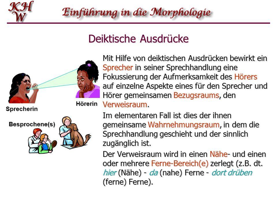 Deiktische Ausdrücke Durch deiktische Ausdrücke wird auf einzelne Dimensionen dieses Wahrnehmungsraums verwiesen: die an der Kommunikation beteiligten »Personen« Sprecher und Hörer (Personaldeixis) die an der Kommunikation beteiligten »Personen« Sprecher und Hörer (Personaldeixis) den Sprechort (Lokaldeixis) den Sprechort (Lokaldeixis) die Sprechzeit (Temporaldeixis) die Sprechzeit (Temporaldeixis) Objekte im Verweisraum (Objektdeixis).
