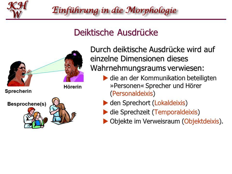 Deiktische Ausdrücke Durch deiktische Ausdrücke wird auf einzelne Dimensionen dieses Wahrnehmungsraums verwiesen: die an der Kommunikation beteiligten