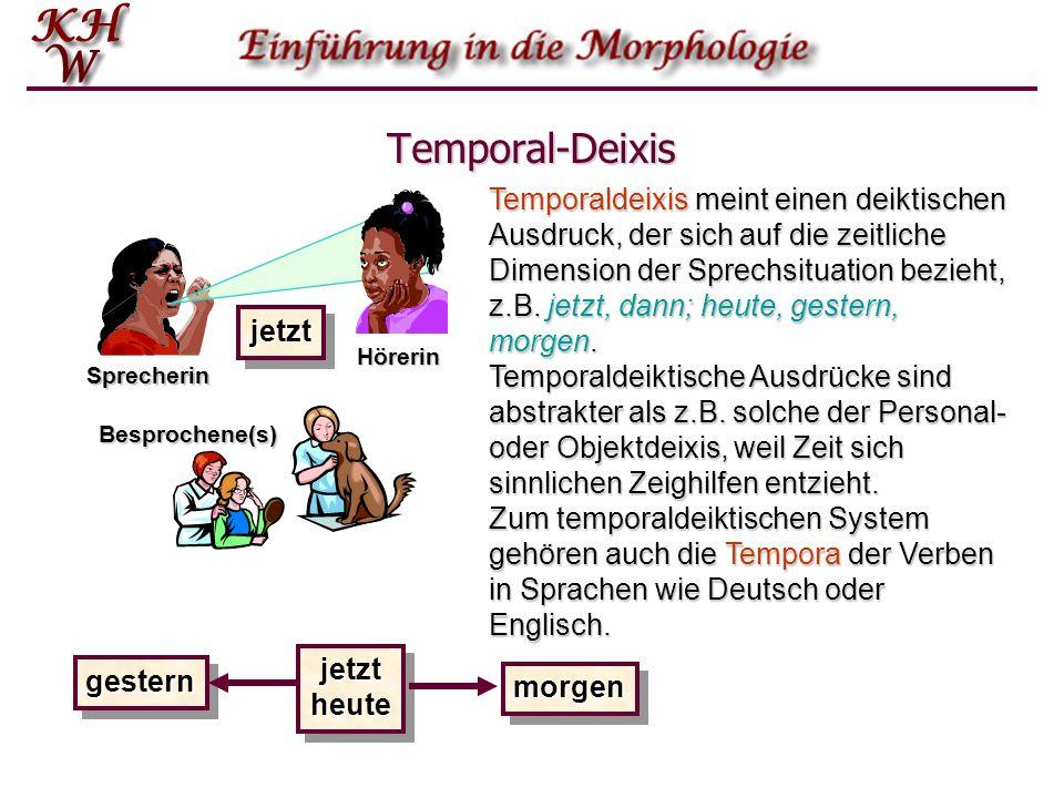 Temporal-Deixis jetztheutejetztheute Temporaldeixis meint einen deiktischen Ausdruck, der sich auf die zeitliche Dimension der Sprechsituation bezieht