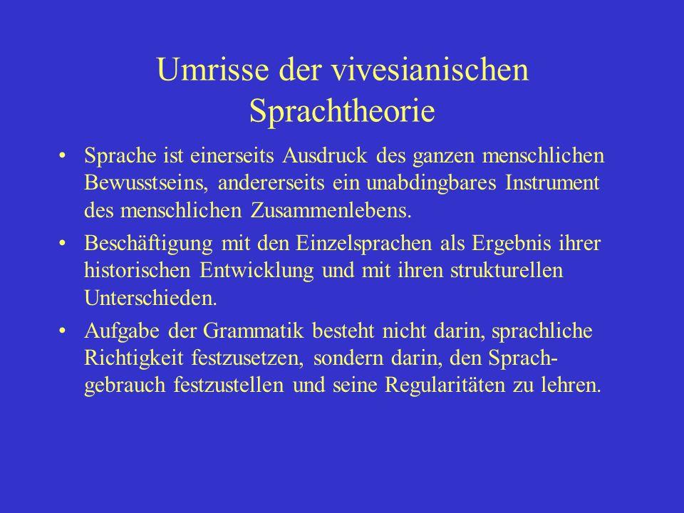 Umrisse der vivesianischen Sprachtheorie Sprache ist einerseits Ausdruck des ganzen menschlichen Bewusstseins, andererseits ein unabdingbares Instrument des menschlichen Zusammenlebens.