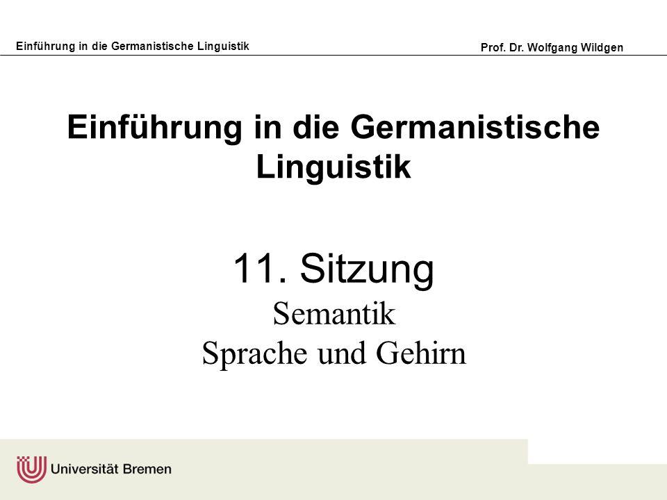 Einführung in die Germanistische Linguistik Prof. Dr. Wolfgang Wildgen Einführung in die Germanistische Linguistik 11. Sitzung Semantik Sprache und Ge