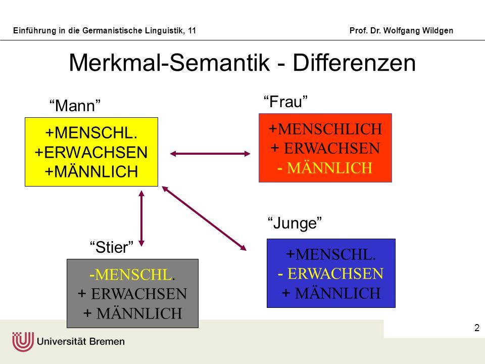 Einführung in die Germanistische Linguistik, 11Prof. Dr. Wolfgang Wildgen 2 Merkmal-Semantik - Differenzen Mann Frau +MENSCHL. +ERWACHSEN +MÄNNLICH Ju