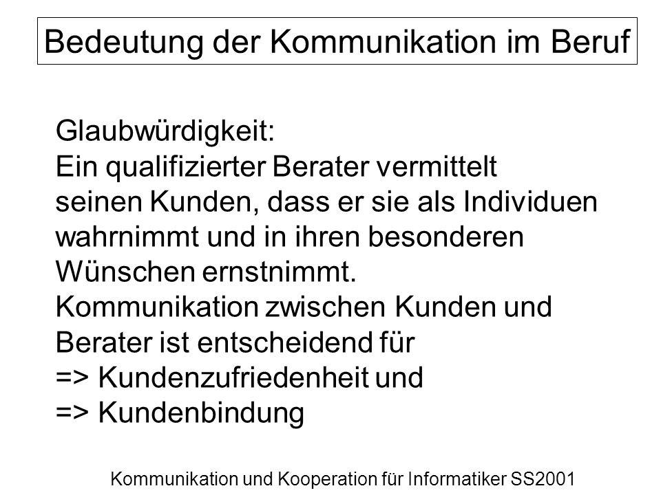 Kommunikation und Kooperation für Informatiker SS2001 Bedeutung der Kommunikation im Beruf Glaubwürdigkeit: Ein qualifizierter Berater vermittelt sein