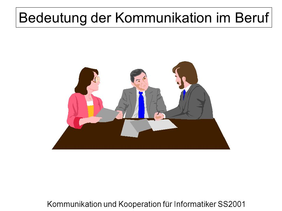 Kommunikation und Kooperation für Informatiker SS2001 Bedeutung der Kommunikation im Beruf