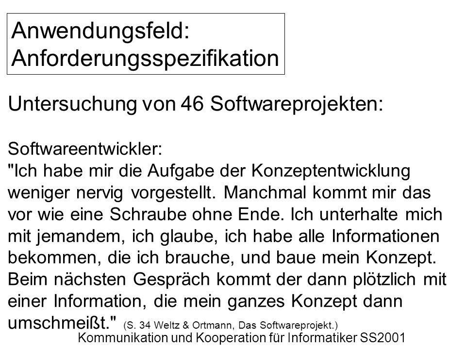 Kommunikation und Kooperation für Informatiker SS2001 Anwendungsfeld: Anforderungsspezifikation Untersuchung von 46 Softwareprojekten: Softwareentwick