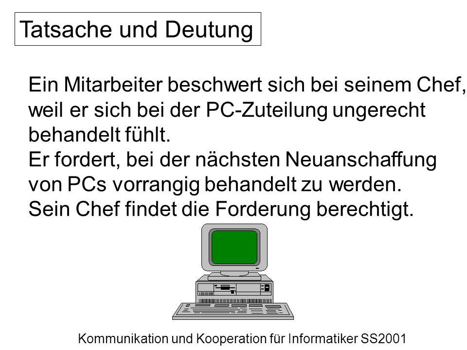 Kommunikation und Kooperation für Informatiker SS2001 Tatsache und Deutung Ein Mitarbeiter beschwert sich bei seinem Chef, weil er sich bei der PC-Zut