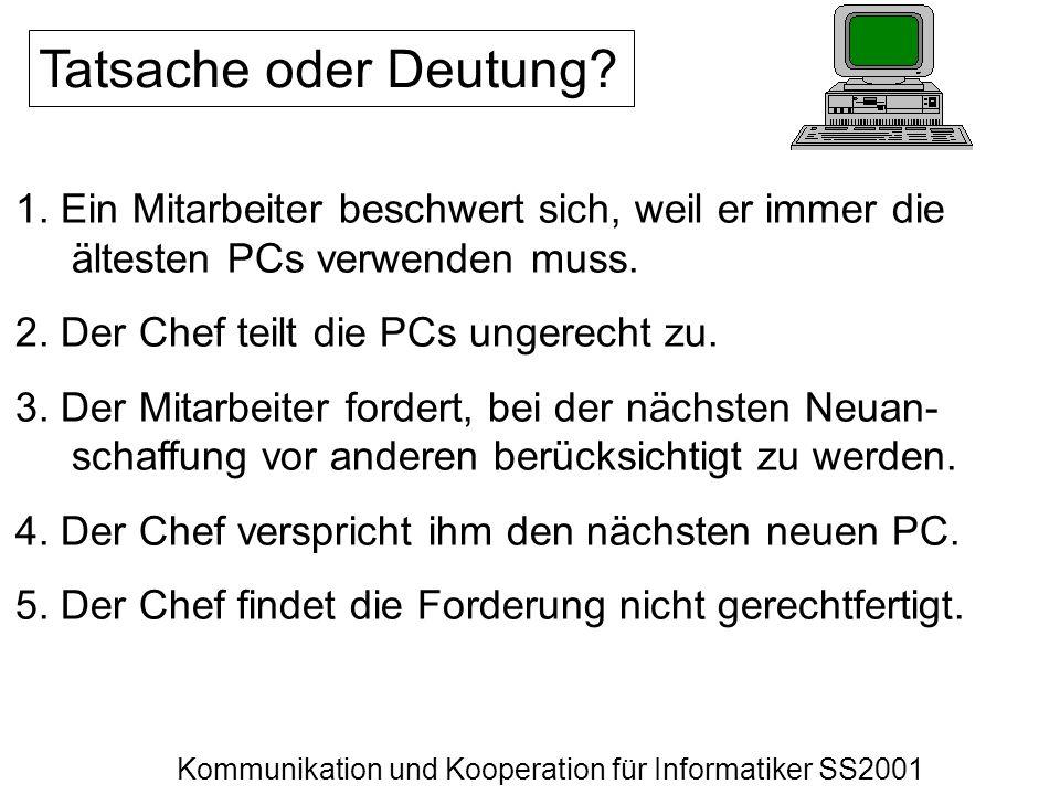 Kommunikation und Kooperation für Informatiker SS2001 Tatsache oder Deutung? 1. Ein Mitarbeiter beschwert sich, weil er immer die ältesten PCs verwend