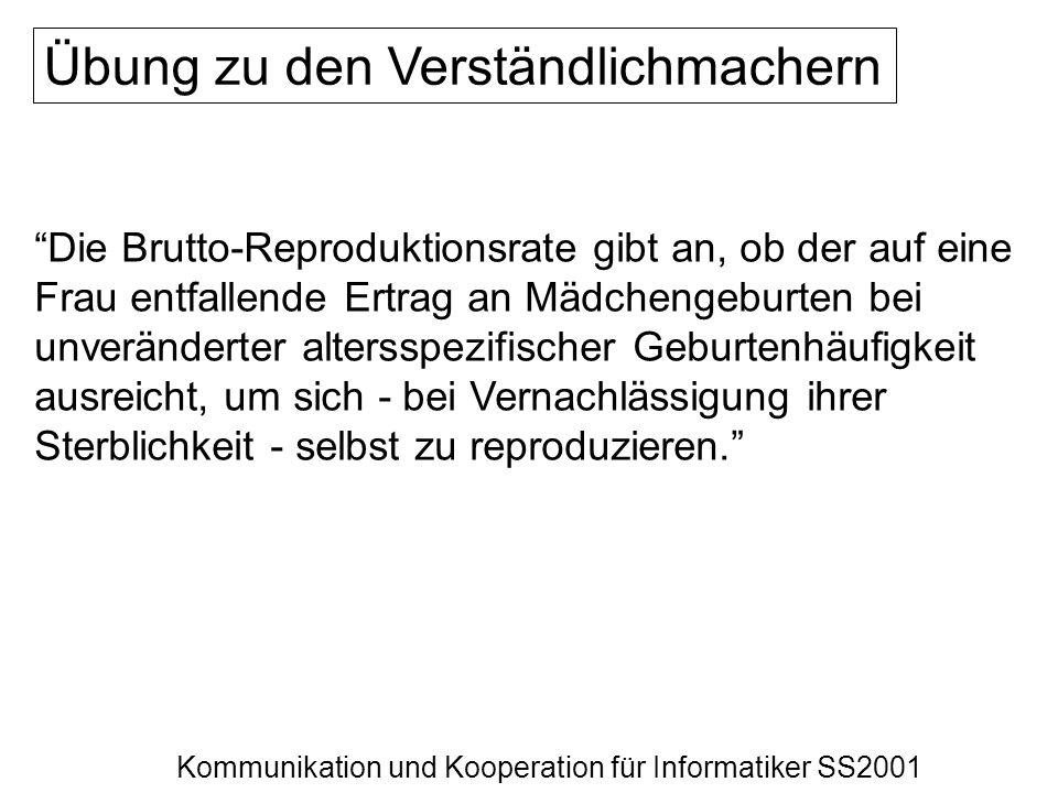 Kommunikation und Kooperation für Informatiker SS2001 Die Brutto-Reproduktionsrate gibt an, ob der auf eine Frau entfallende Ertrag an Mädchengeburten
