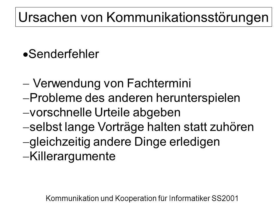 Kommunikation und Kooperation für Informatiker SS2001 Ursachen von Kommunikationsstörungen Senderfehler Verwendung von Fachtermini Probleme des andere