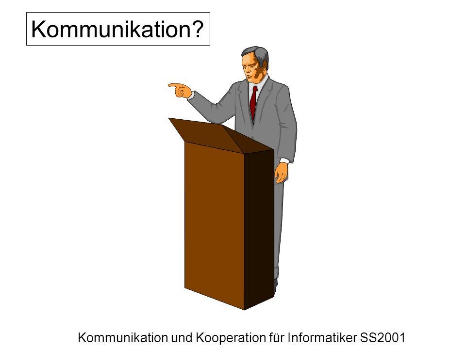 Kommunikation und Kooperation für Informatiker SS2001 Kommunikation?