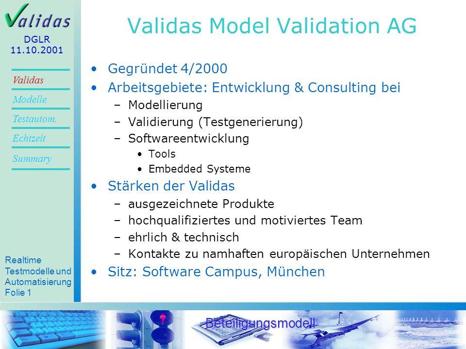 Realtime Testmodelle und Automatisierung Folie 20 Validas Modelle Summary Echtzeit Testautom.