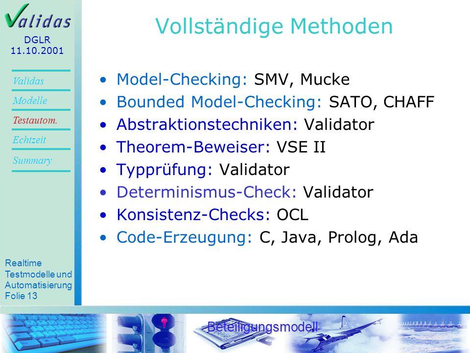 Realtime Testmodelle und Automatisierung Folie 11 Validas Modelle Summary Echtzeit Testautom.