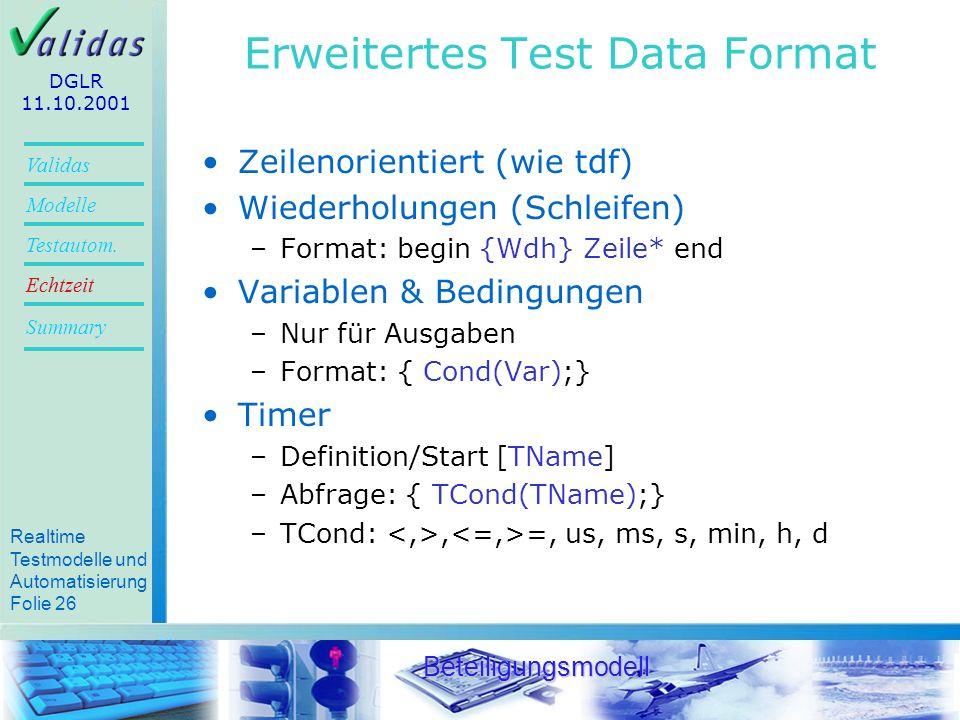 Realtime Testmodelle und Automatisierung Folie 24 Validas Modelle Summary Echtzeit Testautom.