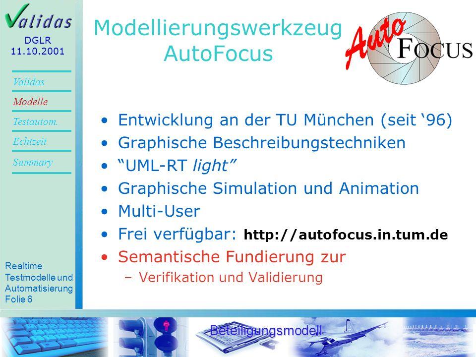 Realtime Testmodelle und Automatisierung Folie 25 Validas Modelle Summary Echtzeit Testautom.