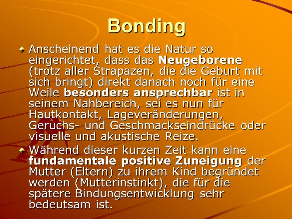 Bonding Anscheinend hat es die Natur so eingerichtet, dass das Neugeborene (trotz aller Strapazen, die die Geburt mit sich bringt) direkt danach noch