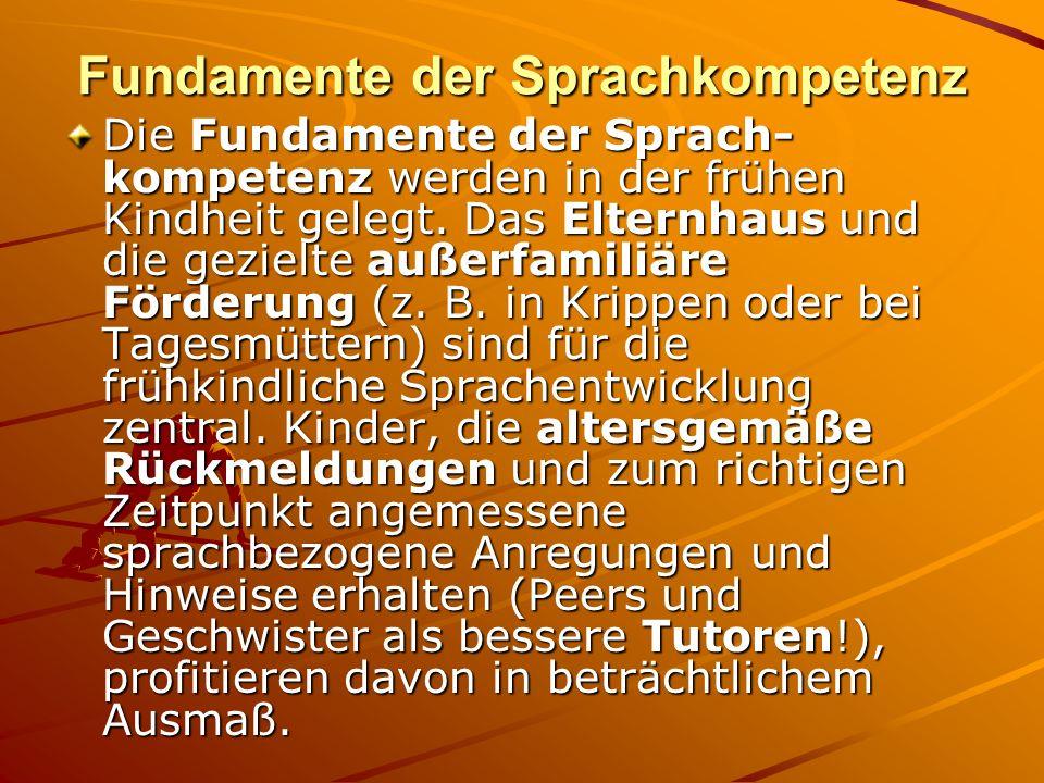 Fundamente der Sprachkompetenz Die Fundamente der Sprach- kompetenz werden in der frühen Kindheit gelegt. Das Elternhaus und die gezielte außerfamiliä