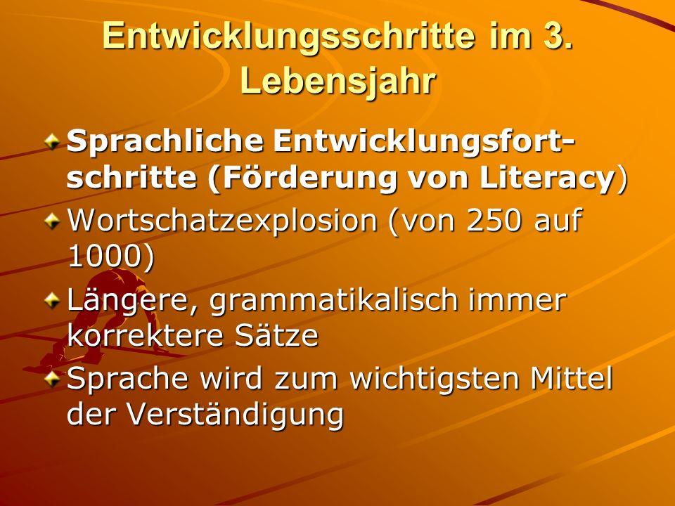 Entwicklungsschritte im 3. Lebensjahr Sprachliche Entwicklungsfort- schritte (Förderung von Literacy) Wortschatzexplosion (von 250 auf 1000) Längere,