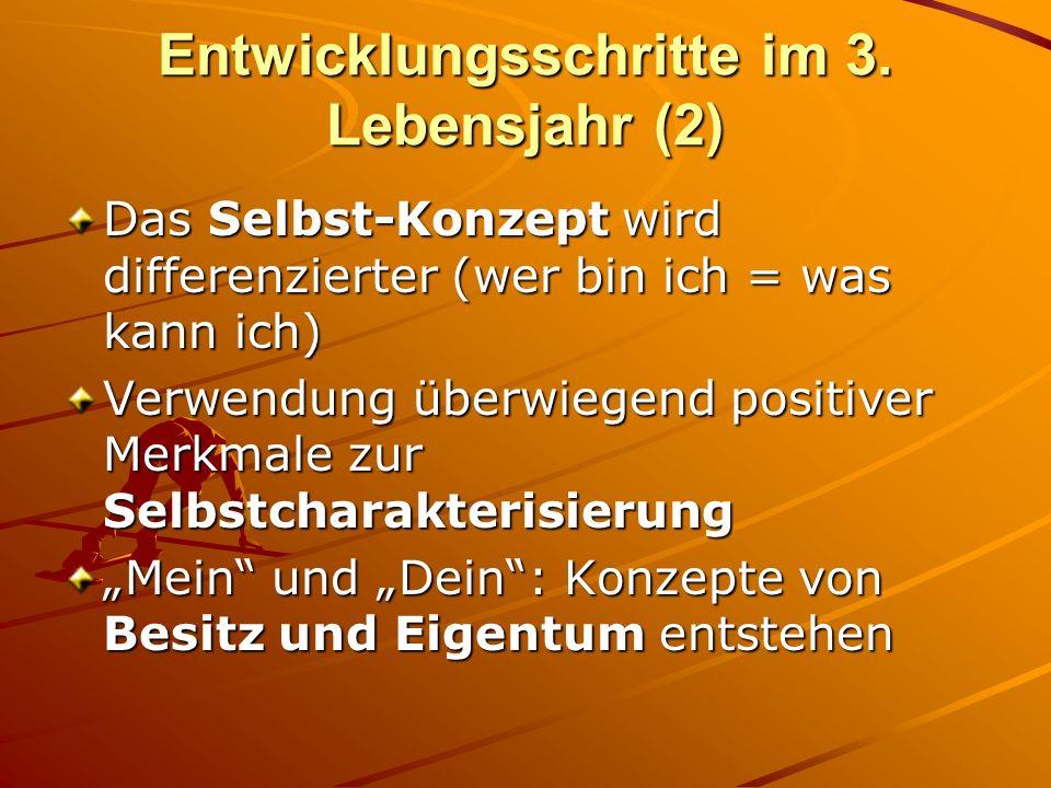 Entwicklungsschritte im 3. Lebensjahr (2) Das Selbst-Konzept wird differenzierter (wer bin ich = was kann ich) Verwendung überwiegend positiver Merkma