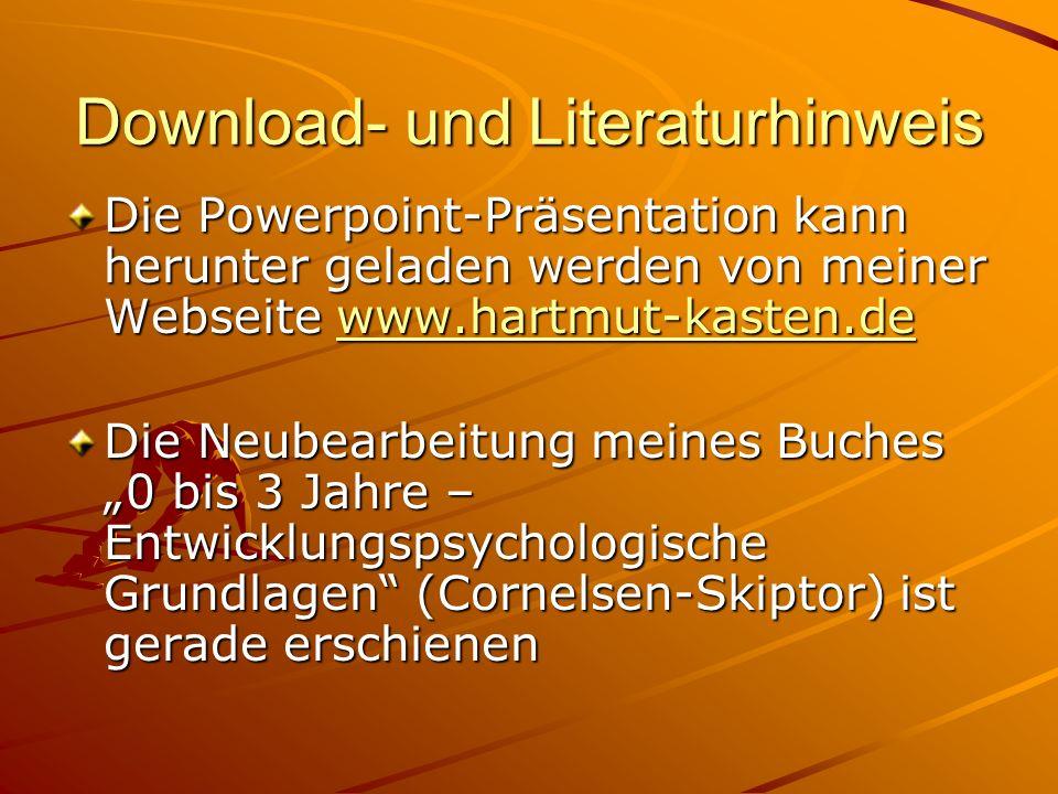Download- und Literaturhinweis Die Powerpoint-Präsentation kann herunter geladen werden von meiner Webseite www.hartmut-kasten.de www.hartmut-kasten.d