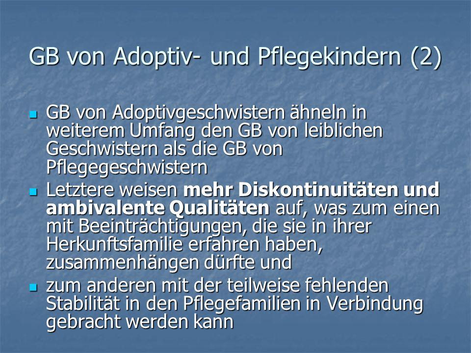 GB von Adoptiv- und Pflegekindern Statistische Trends Statistische Trends Konzepte und Modellvorstellungen (Stress- und Coping-Modell, Integrationsmod