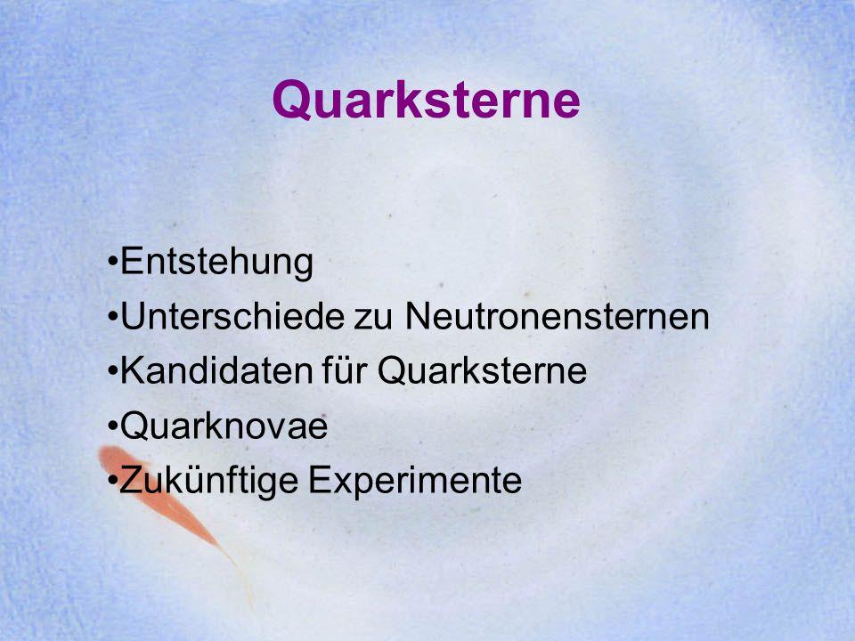 Quarksterne Entstehung Unterschiede zu Neutronensternen Kandidaten für Quarksterne Quarknovae Zukünftige Experimente