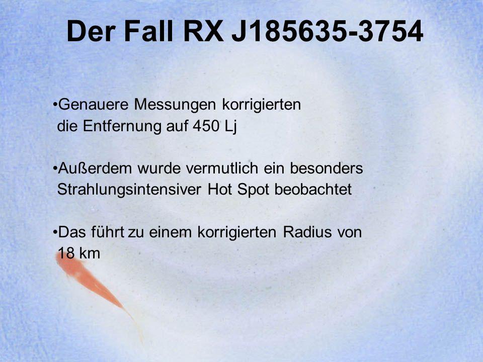 Der Fall RX J185635-3754 Genauere Messungen korrigierten die Entfernung auf 450 Lj Außerdem wurde vermutlich ein besonders Strahlungsintensiver Hot Sp
