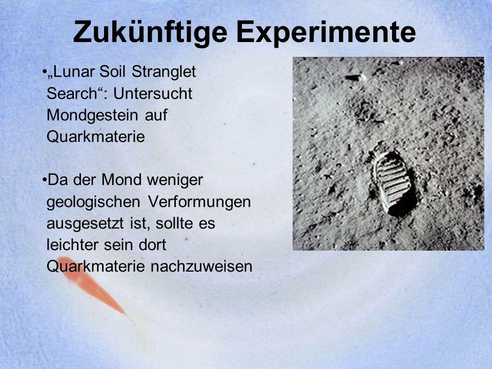 Zukünftige Experimente Lunar Soil Stranglet Search: Untersucht Mondgestein auf Quarkmaterie Da der Mond weniger geologischen Verformungen ausgesetzt i