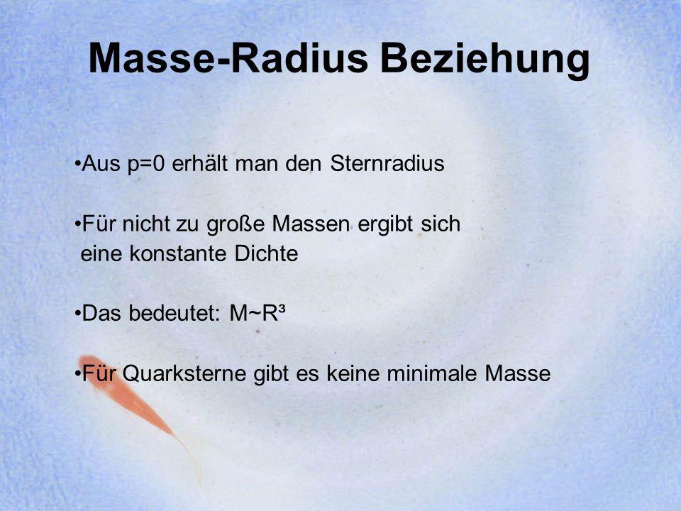 Masse-Radius Beziehung Aus p=0 erhält man den Sternradius Für nicht zu große Massen ergibt sich eine konstante Dichte Das bedeutet: M~R³ Für Quarkster