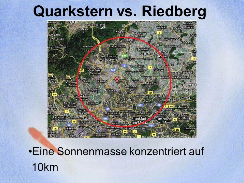 Unterschiede zu Neutronensternen Crusted Quark Star: Ein starkes elektrisches Feld (~10 17 V/cm) an der Sternoberfläche kann eine Kruste aus gewöhnlicher Materie tragen (Masse ~10 -5 M Sonne ) Sehr ähnlich den Neutronensternen Bare Quark Star: Quarkstern, der keine Kruste akkretiert hat Zeigen keine Absorptions- oder Emissionslinien