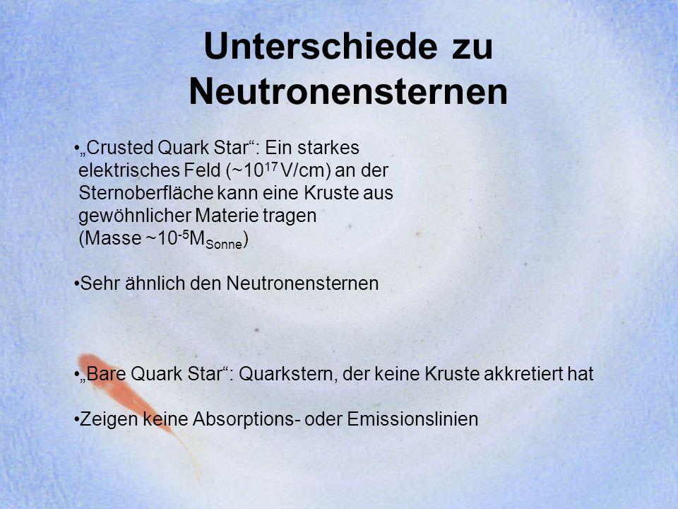 Unterschiede zu Neutronensternen Crusted Quark Star: Ein starkes elektrisches Feld (~10 17 V/cm) an der Sternoberfläche kann eine Kruste aus gewöhnlic